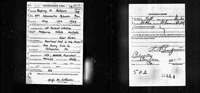 1917 1918 draft card US