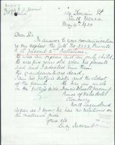 Lucy letter re Robert's death