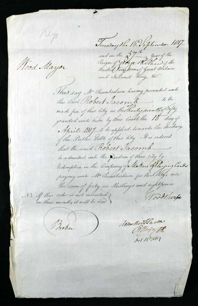 LondonEnglandFreedomoftheCityAdmissionPapers1817 for robert jacomb