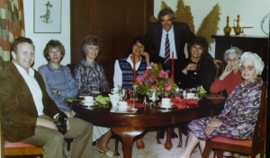From far left, Barrie Ryan , Margaret perdriau , Lyn Ryan( Barrie's wife), Thirza Rayward ( now McPhee), Geoff Perdriau standing, Gail Nunan ( Thirza's sister), Gwen Ryan , Margaret's mother , Kath Rollason ( stubbs family grannie). Photo taken at Thirza's residence
