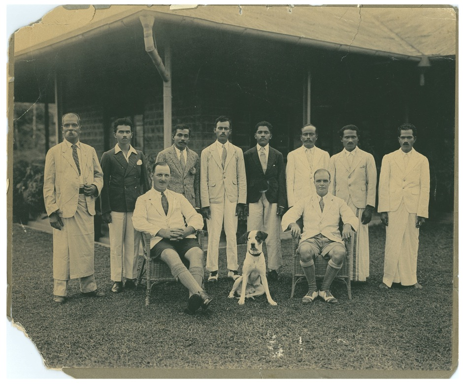 Tim Rollason and staff in Ceylong circa 1930