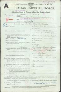 enlistment of Andrew noel linton WW1