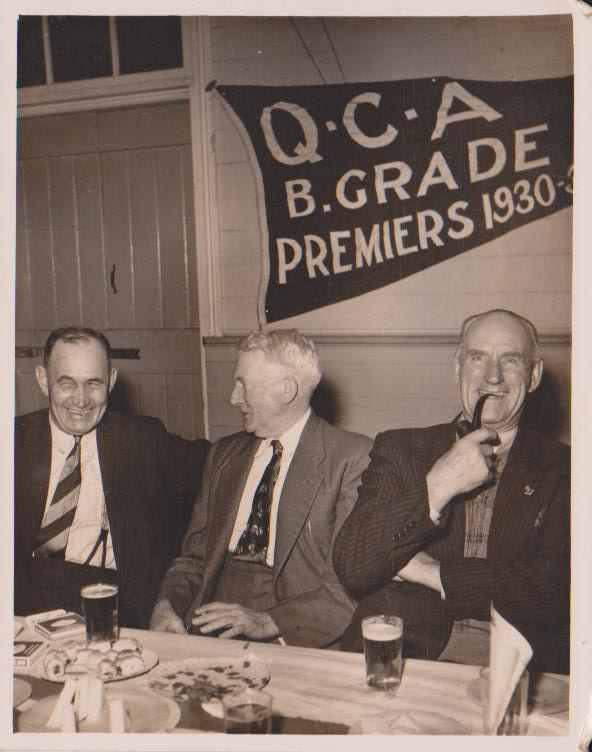 kev hickey, wally dalton and eric stubbs( right) at queensland cricket association date unknown