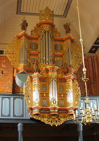 Marienhafe - pipe organ in the evangelical lutheran church , Lower Saxony East Frisia