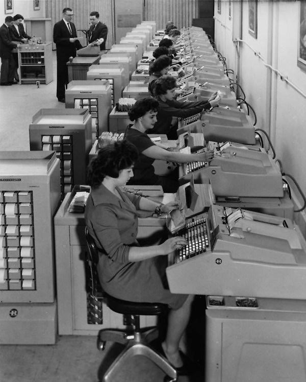 1960 bank employees using burroughs machines