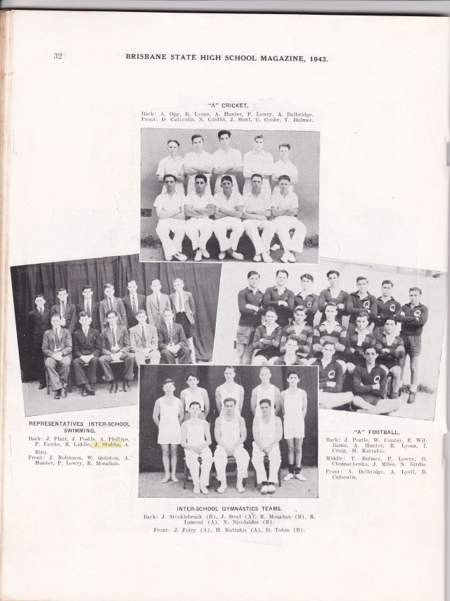 dad at brisbane state high swim team 1943