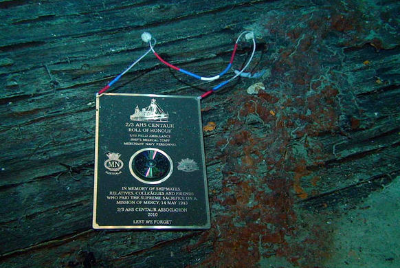 memorial plaque on board the Centaur - 12th january 2010