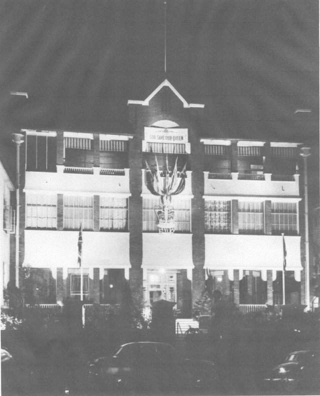 united services club 1954 decorated for royal visit