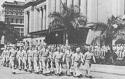 US servicemen marching through King George Square 1943