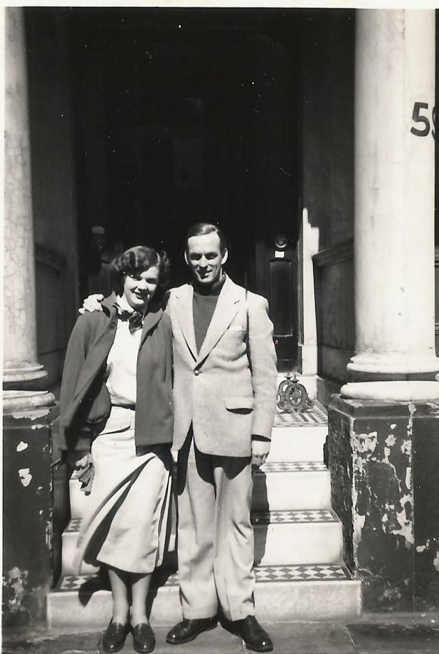 1955 joan, john, london, possibly Denbeigh St. SW1