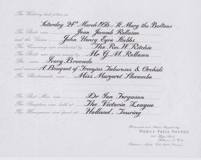 1956 wedding anouncement