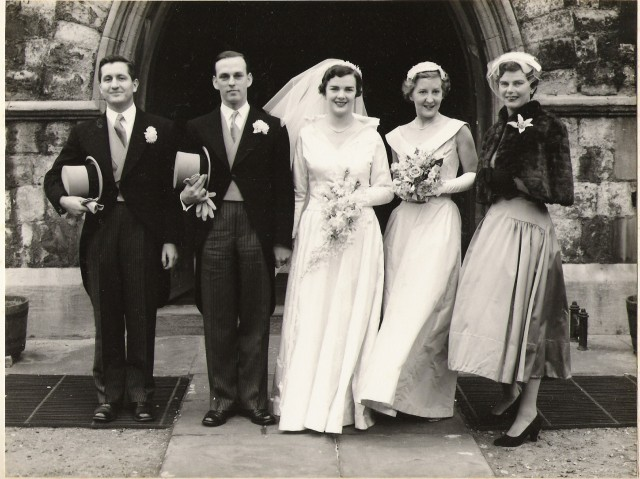 1956_wedding ian ferguson, john, joan, margaret and mary
