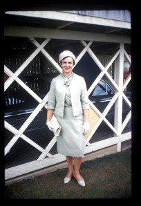1961 Joan pictured outside mt gravatt house - dad's falcon in the garage