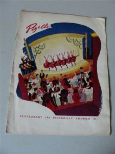 pigalle restaurant piccadilly london menu 1955